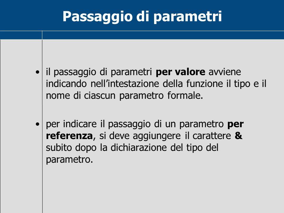 Passaggio di parametri il passaggio di parametri per valore avviene indicando nell'intestazione della funzione il tipo e il nome di ciascun parametro