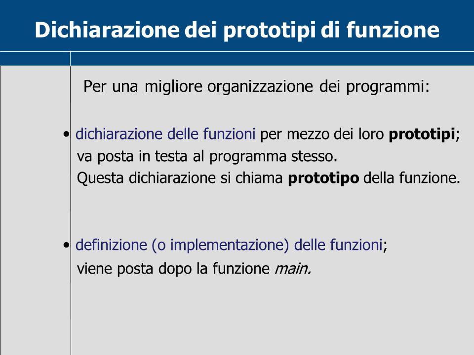 Dichiarazione dei prototipi di funzione Per una migliore organizzazione dei programmi: dichiarazione delle funzioni per mezzo dei loro prototipi; va p