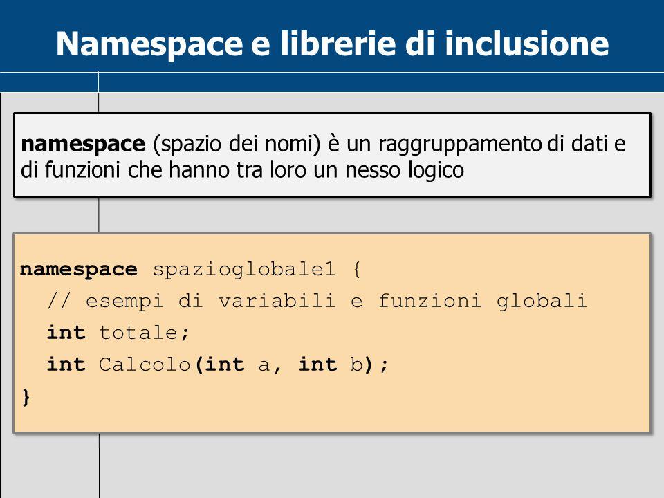 Namespace e librerie di inclusione namespace (spazio dei nomi) è un raggruppamento di dati e di funzioni che hanno tra loro un nesso logico namespace