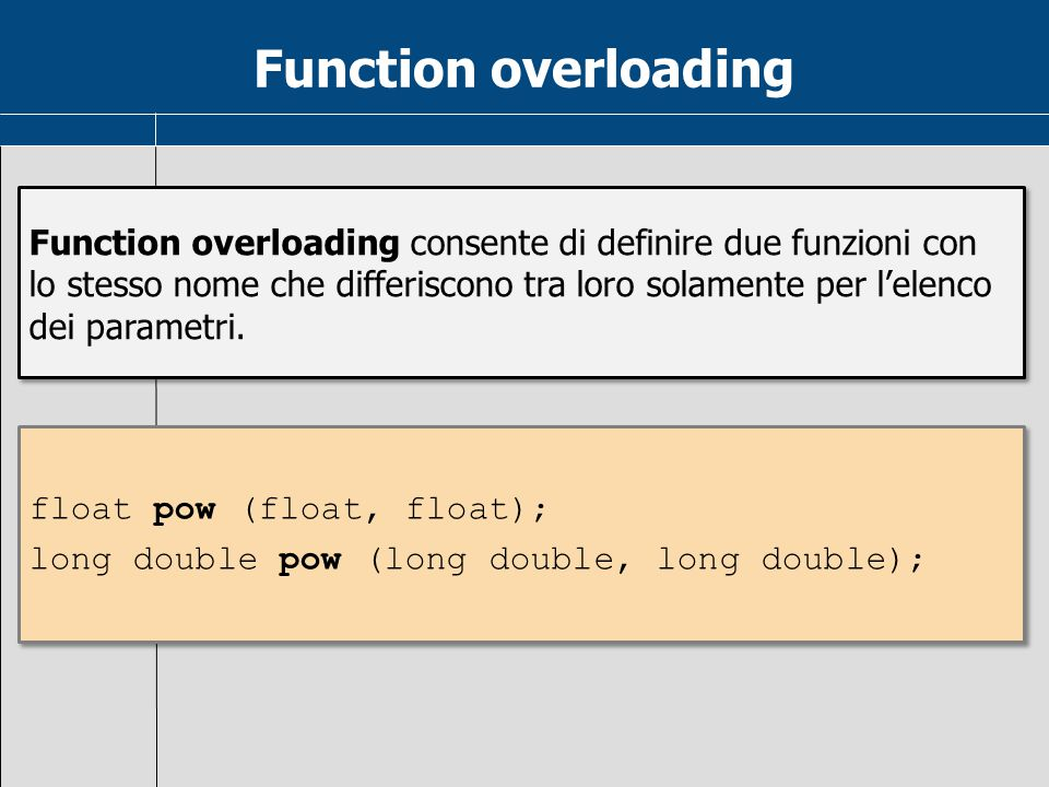 Function overloading Function overloading consente di definire due funzioni con lo stesso nome che differiscono tra loro solamente per l'elenco dei pa