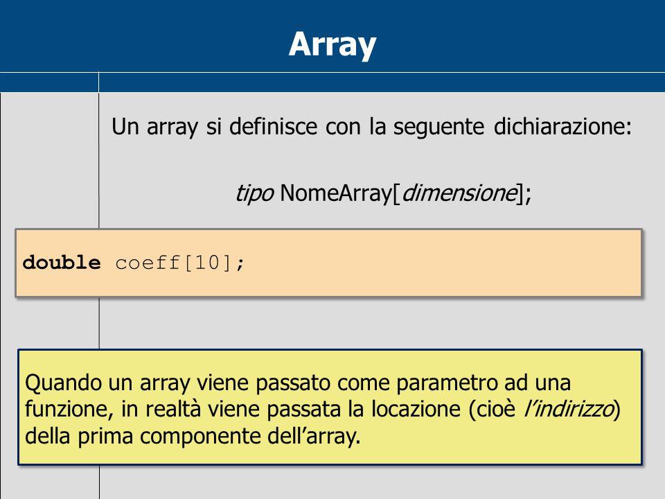 Array Un array si definisce con la seguente dichiarazione: tipo NomeArray[dimensione]; Quando un array viene passato come parametro ad una funzione, i