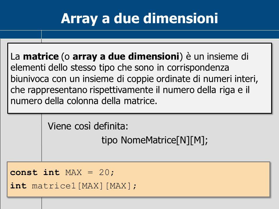 Array a due dimensioni Viene così definita: tipo NomeMatrice[N][M]; La matrice (o array a due dimensioni) è un insieme di elementi dello stesso tipo c