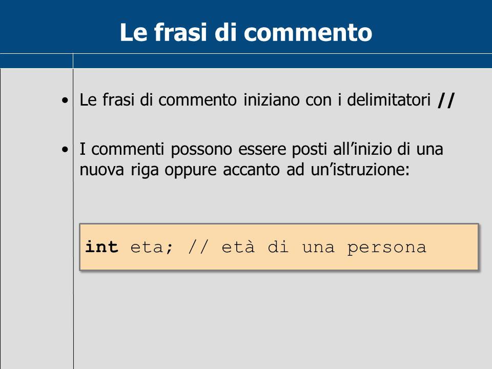 Le frasi di commento Le frasi di commento iniziano con i delimitatori // I commenti possono essere posti all'inizio di una nuova riga oppure accanto a
