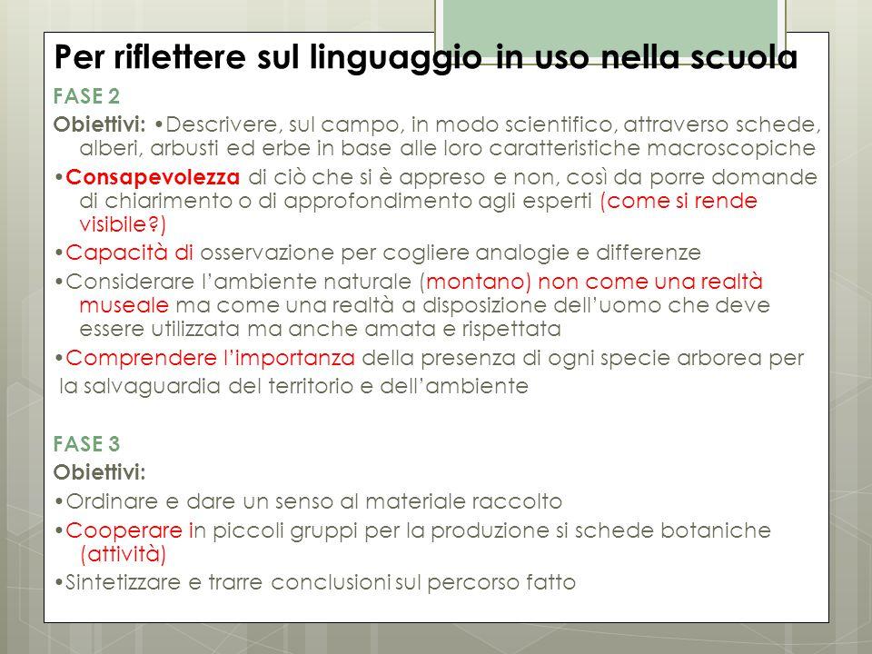 Per riflettere sul linguaggio in uso nella scuola FASE 2 Obiettivi: Descrivere, sul campo, in modo scientifico, attraverso schede, alberi, arbusti ed