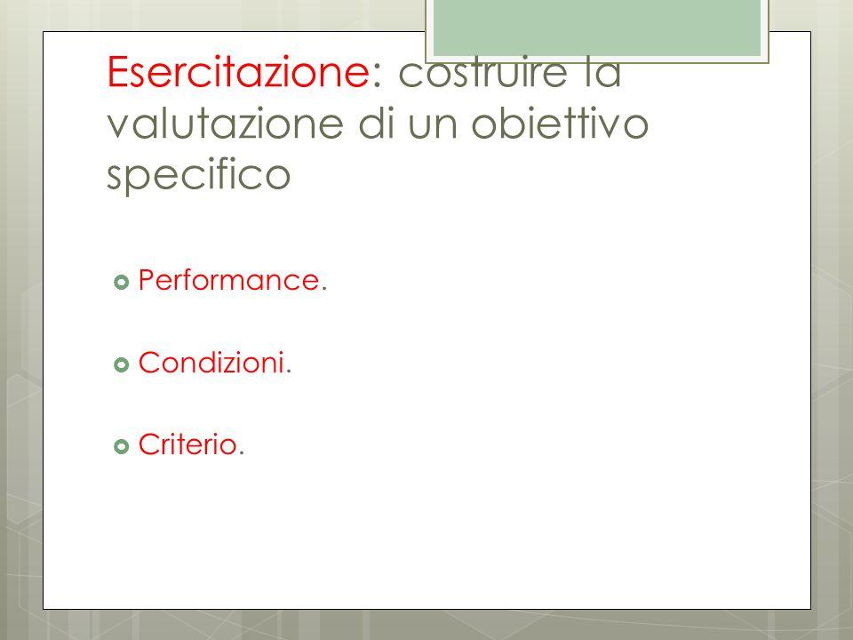 Esercitazione: costruire la valutazione di un obiettivo specifico  Performance.  Condizioni.  Criterio.