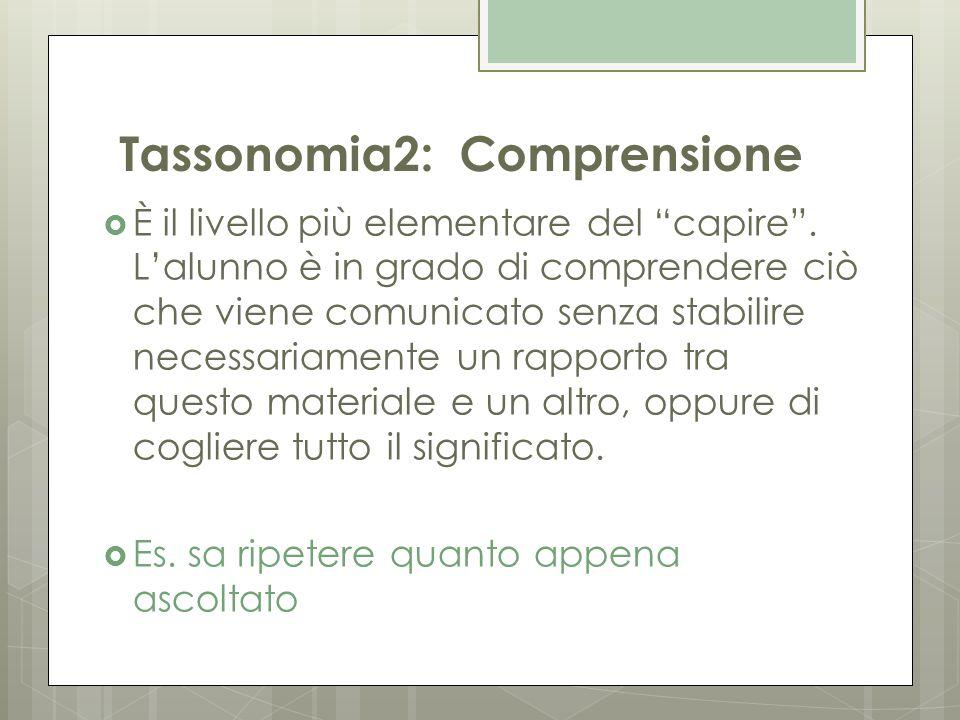 """Tassonomia2: Comprensione  È il livello più elementare del """"capire"""". L'alunno è in grado di comprendere ciò che viene comunicato senza stabilire nece"""