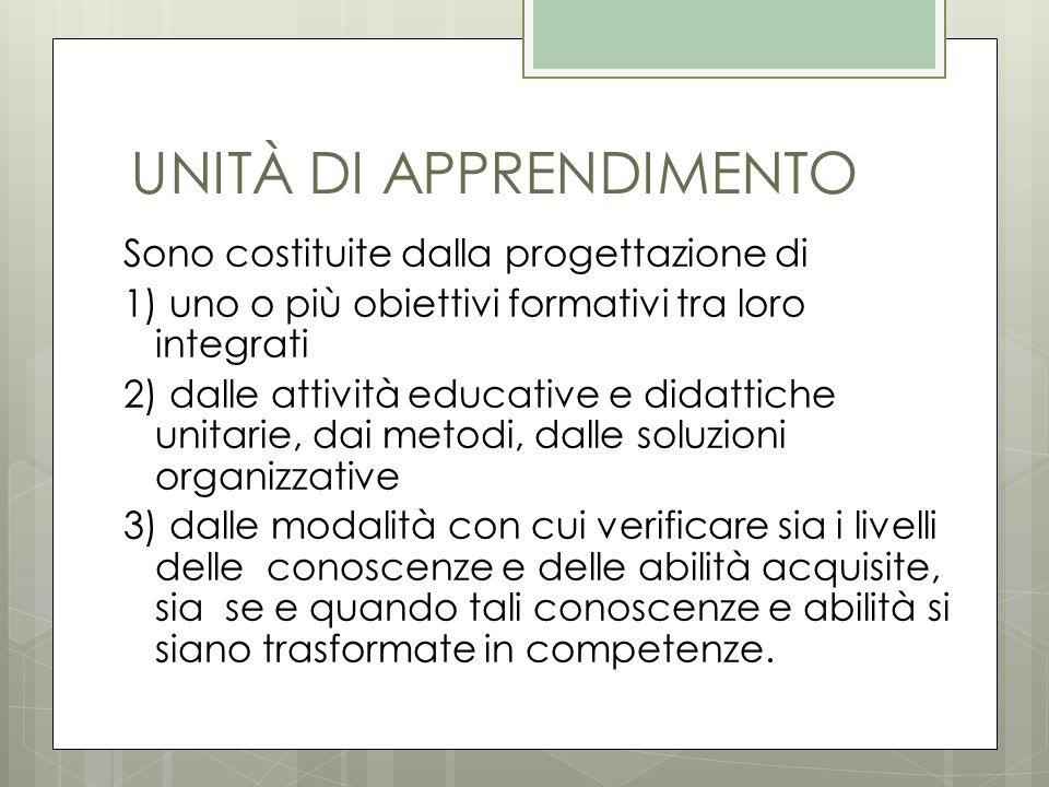 UNITÀ DI APPRENDIMENTO Sono costituite dalla progettazione di 1) uno o più obiettivi formativi tra loro integrati 2) dalle attività educative e didatt