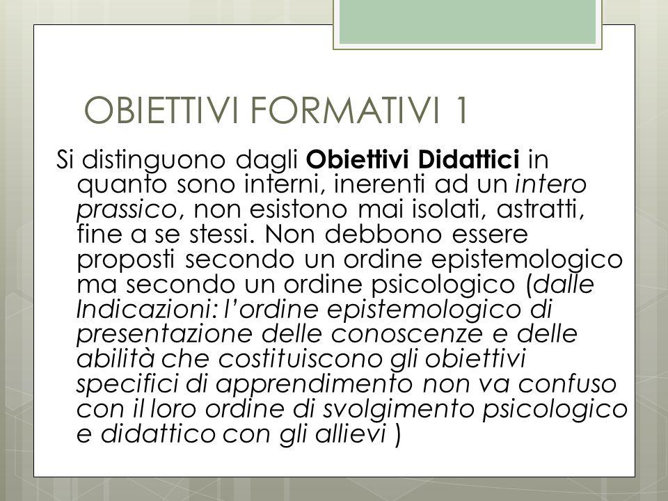 OBIETTIVI FORMATIVI 1 Si distinguono dagli Obiettivi Didattici in quanto sono interni, inerenti ad un intero prassico, non esistono mai isolati, astra