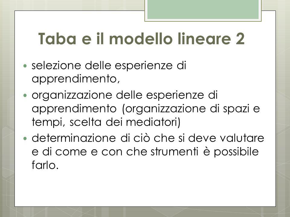 Taba e il modello lineare 2 selezione delle esperienze di apprendimento, organizzazione delle esperienze di apprendimento (organizzazione di spazi e t