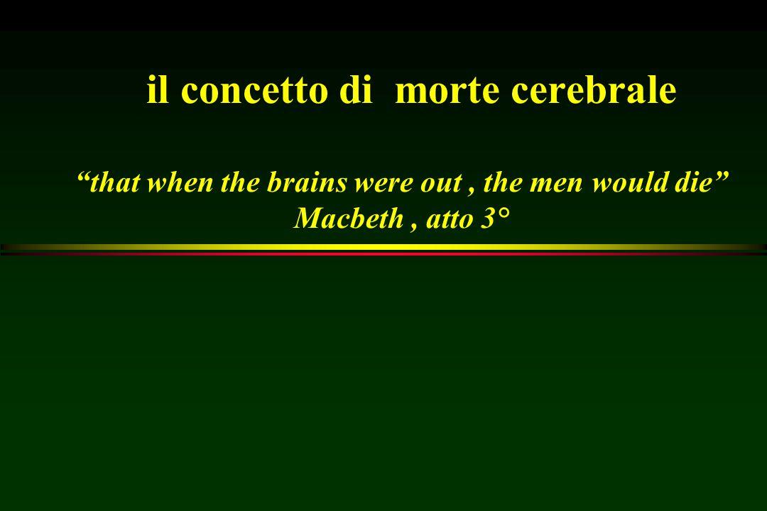 """il concetto di morte cerebrale """"that when the brains were out, the men would die"""" Macbeth, atto 3°"""