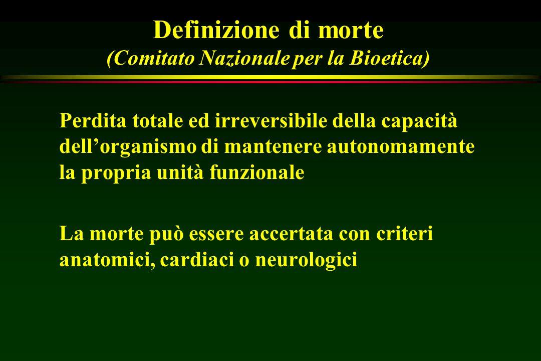 Definizione di morte (Comitato Nazionale per la Bioetica) Perdita totale ed irreversibile della capacità dell'organismo di mantenere autonomamente la