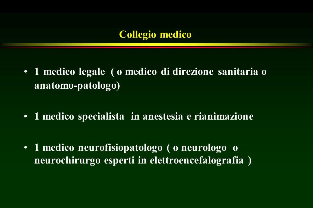 Collegio medico 1 medico legale ( o medico di direzione sanitaria o anatomo-patologo) 1 medico specialista in anestesia e rianimazione 1 medico neurof