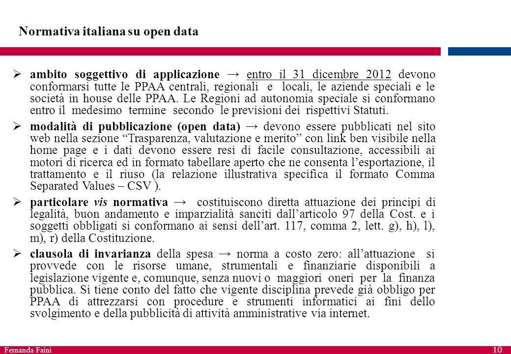 Fernanda Faini 10 Normativa italiana su open data  ambito soggettivo di applicazione → entro il 31 dicembre 2012 devono conformarsi tutte le PPAA cen
