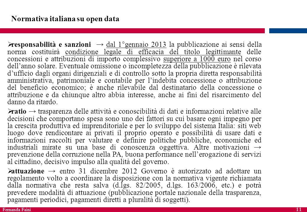 Fernanda Faini 11 Normativa italiana su open data  responsabilità e sanzioni → dal 1°gennaio 2013 la pubblicazione ai sensi della norma costituirà co