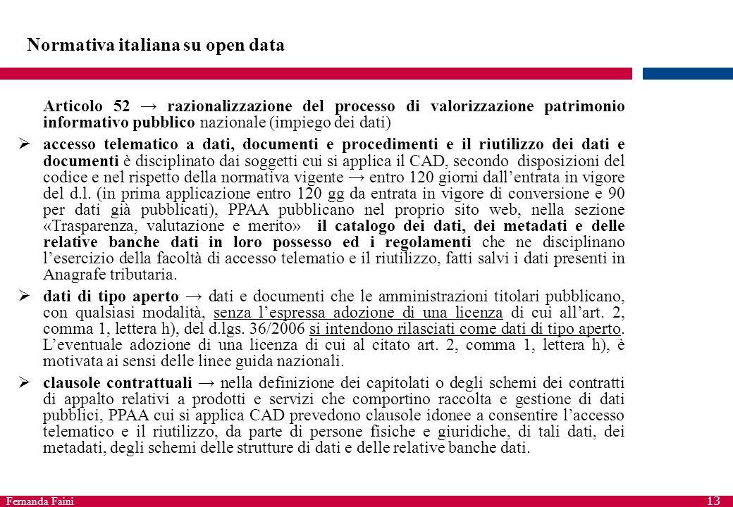 Fernanda Faini 13 Normativa italiana su open data Articolo 52 → razionalizzazione del processo di valorizzazione patrimonio informativo pubblico nazio