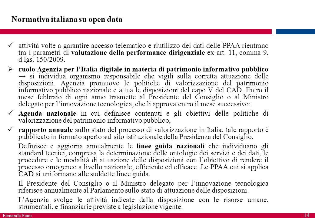 Fernanda Faini 14 Normativa italiana su open data attività volte a garantire accesso telematico e riutilizzo dei dati delle PPAA rientrano tra i param