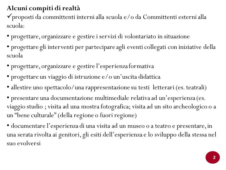 2 Alcuni compiti di realtà proposti da committenti interni alla scuola e/o da Committenti esterni alla scuola: progettare, organizzare e gestire i ser