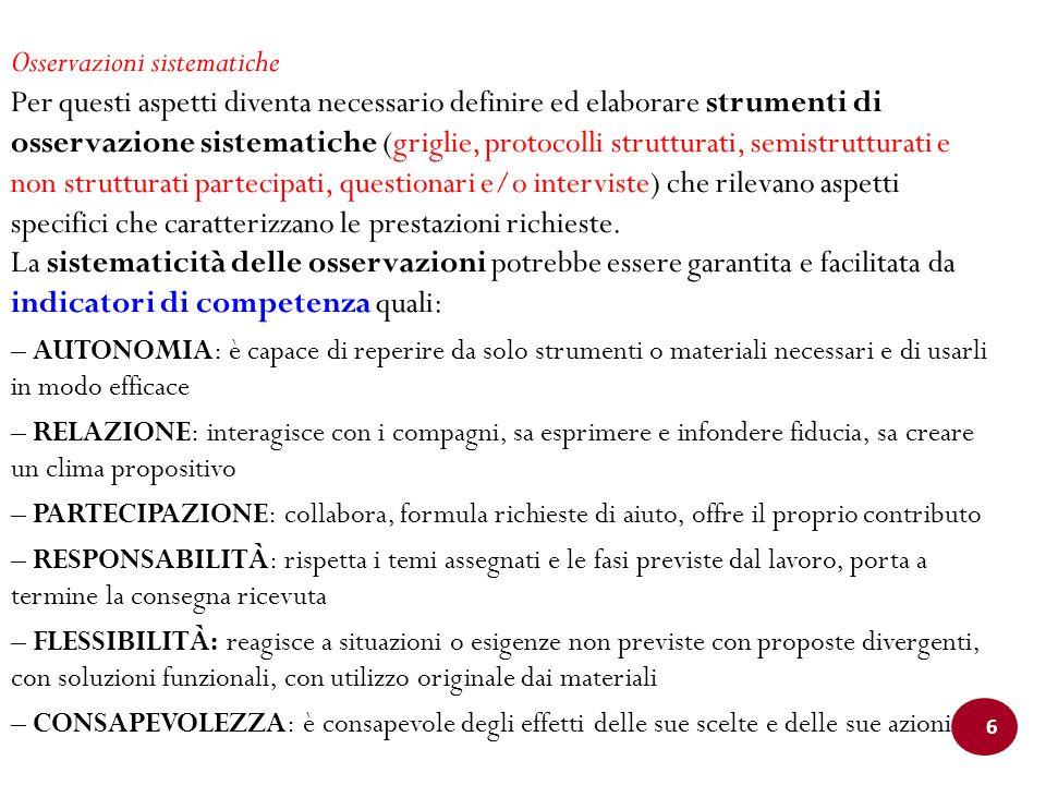 6 Osservazioni sistematiche Per questi aspetti diventa necessario definire ed elaborare strumenti di osservazione sistematiche (griglie, protocolli st