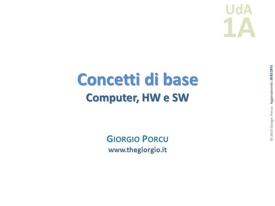 © 2015 Giorgio Porcu - Aggiornamennto 26/02/2015 UdA 1A Concetti di base Computer, HW e SW G IORGIO P ORCU www.thegiorgio.it