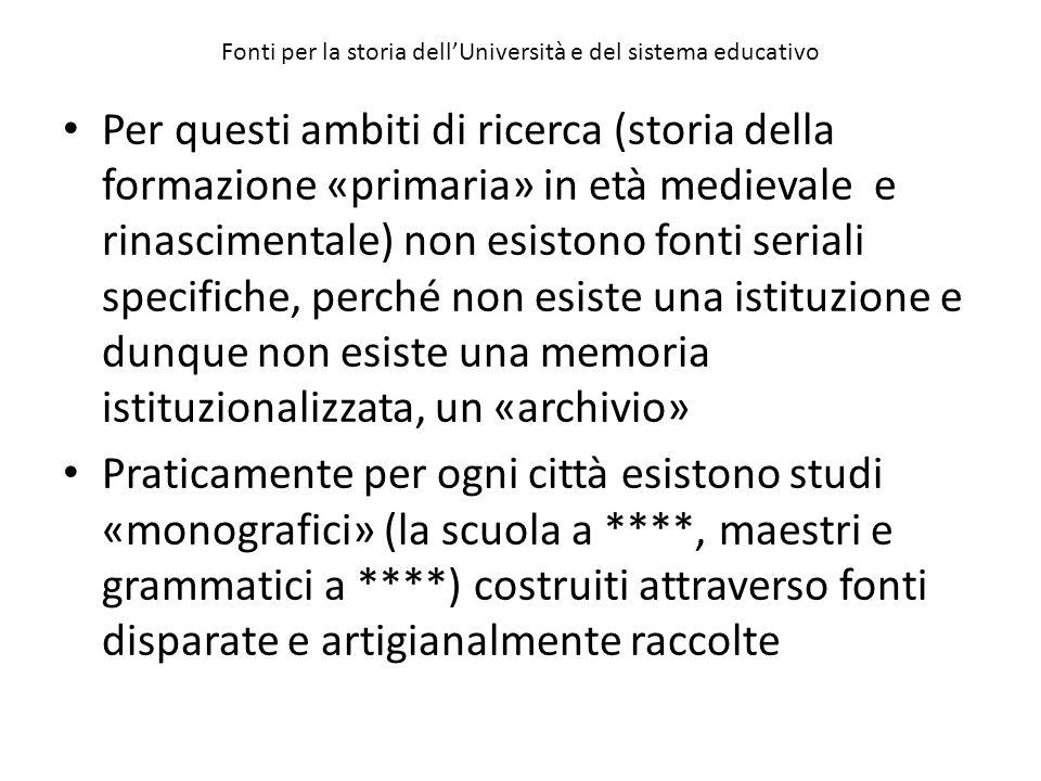 Il successo di Bologna non deve far dimenticare gli altri centri di studio che fiorirono numerosi in Italia e altrove.
