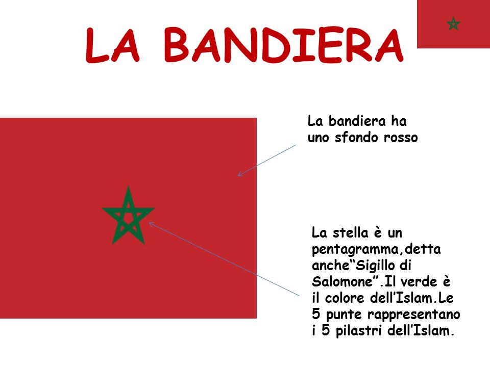 """LA BANDIERA La stella è un pentagramma,detta anche""""Sigillo di Salomone"""".Il verde è il colore dell'Islam.Le 5 punte rappresentano i 5 pilastri dell'Isl"""