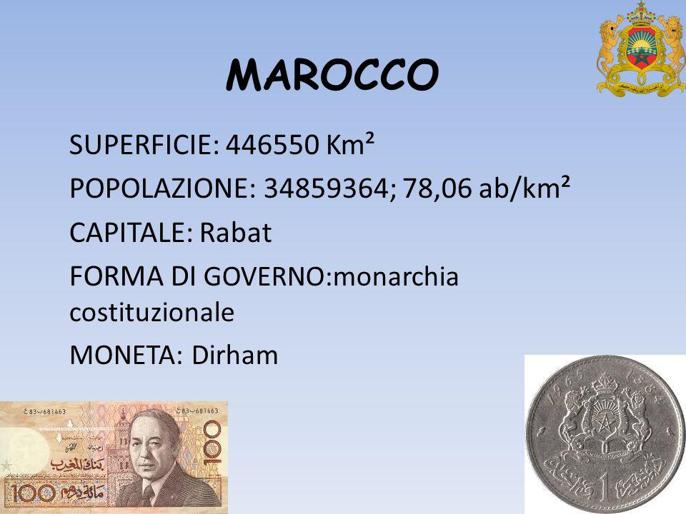 MAROCCO SUPERFICIE: 446550 Km² POPOLAZIONE: 34859364; 78,06 ab/km² CAPITALE: Rabat FORMA DI GOVERNO:monarchia costituzionale MONETA: Dirham