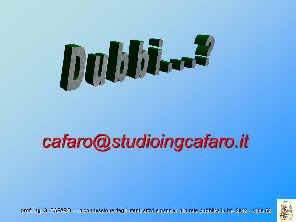 prof. ing. G. CAFARO – La connessione degli utenti attivi e passivi alla rete pubblica in bt– 2012 - slide 52 cafaro@studioingcafaro.it