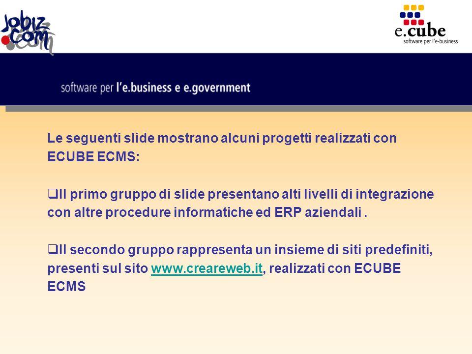 Le seguenti slide mostrano alcuni progetti realizzati con ECUBE ECMS:  Il primo gruppo di slide presentano alti livelli di integrazione con altre procedure informatiche ed ERP aziendali.