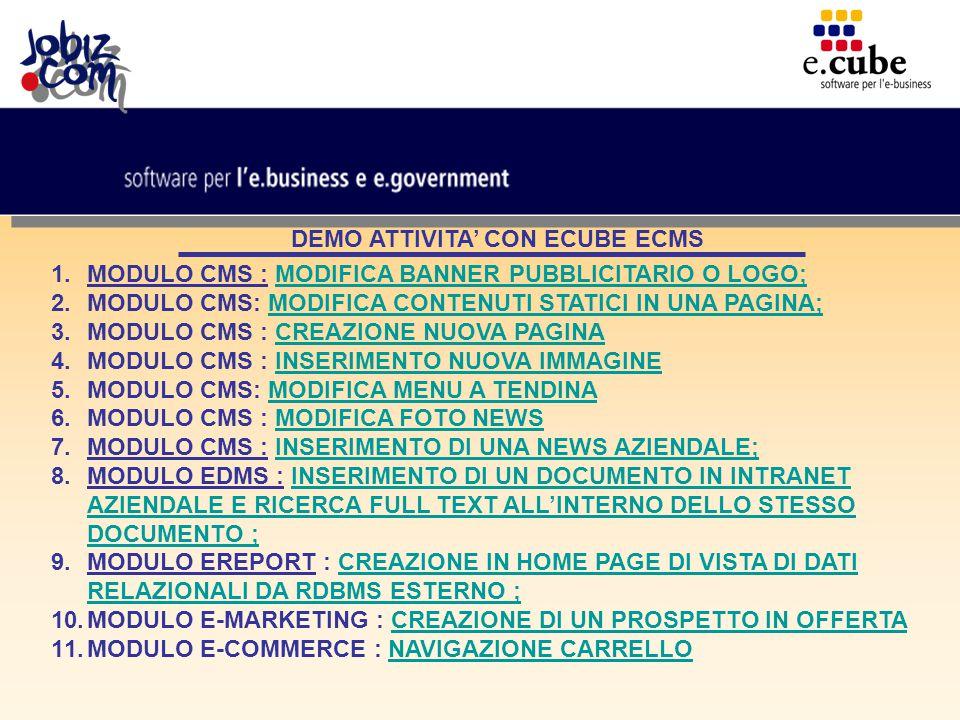 DEMO ATTIVITA' CON ECUBE ECMS 1.MODULO CMS : MODIFICA BANNER PUBBLICITARIO O LOGO;MODIFICA BANNER PUBBLICITARIO O LOGO; 2.MODULO CMS: MODIFICA CONTENUTI STATICI IN UNA PAGINA;MODIFICA CONTENUTI STATICI IN UNA PAGINA; 3.MODULO CMS : CREAZIONE NUOVA PAGINACREAZIONE NUOVA PAGINA 4.MODULO CMS : INSERIMENTO NUOVA IMMAGINEINSERIMENTO NUOVA IMMAGINE 5.MODULO CMS: MODIFICA MENU A TENDINAMODIFICA MENU A TENDINA 6.MODULO CMS : MODIFICA FOTO NEWSMODIFICA FOTO NEWS 7.MODULO CMS : INSERIMENTO DI UNA NEWS AZIENDALE;INSERIMENTO DI UNA NEWS AZIENDALE; 8.MODULO EDMS : INSERIMENTO DI UN DOCUMENTO IN INTRANET AZIENDALE E RICERCA FULL TEXT ALL'INTERNO DELLO STESSO DOCUMENTO ;INSERIMENTO DI UN DOCUMENTO IN INTRANET AZIENDALE E RICERCA FULL TEXT ALL'INTERNO DELLO STESSO DOCUMENTO ; 9.MODULO EREPORT : CREAZIONE IN HOME PAGE DI VISTA DI DATI RELAZIONALI DA RDBMS ESTERNO ;CREAZIONE IN HOME PAGE DI VISTA DI DATI RELAZIONALI DA RDBMS ESTERNO ; 10.MODULO E-MARKETING : CREAZIONE DI UN PROSPETTO IN OFFERTACREAZIONE DI UN PROSPETTO IN OFFERTA 11.MODULO E-COMMERCE : NAVIGAZIONE CARRELLONAVIGAZIONE CARRELLO