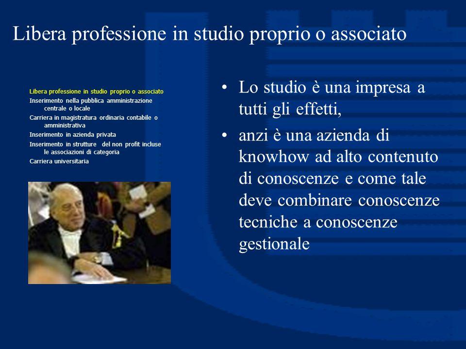 Libera professione in studio proprio o associato Lo studio è una impresa a tutti gli effetti, anzi è una azienda di knowhow ad alto contenuto di conos