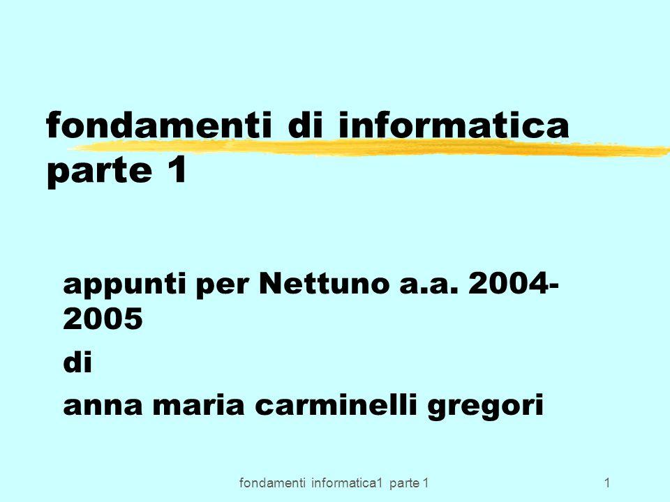 fondamenti informatica1 parte 11 fondamenti di informatica parte 1 appunti per Nettuno a.a. 2004- 2005 di anna maria carminelli gregori