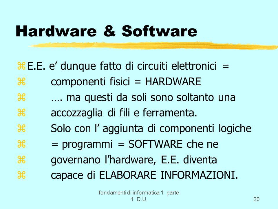 fondamenti di informatica 1 parte 1 D.U.20 Hardware & Software zE.E. e' dunque fatto di circuiti elettronici = z componenti fisici = HARDWARE z …. ma