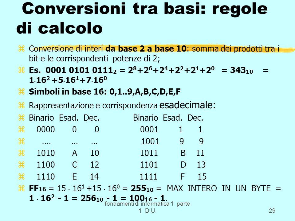 fondamenti di informatica 1 parte 1 D.U.29 Conversioni tra basi: regole di calcolo zConversione di interi da base 2 a base 10: somma dei prodotti tra i bit e le corrispondenti potenze di 2; zEs.