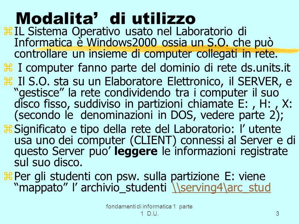 fondamenti di informatica 1 parte 1 D.U.3 Modalita' di utilizzo zIL Sistema Operativo usato nel Laboratorio di Informatica è Windows2000 ossia un S.O.