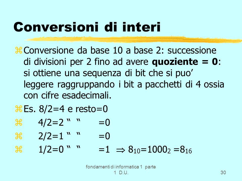 fondamenti di informatica 1 parte 1 D.U.30 Conversioni di interi zConversione da base 10 a base 2: successione di divisioni per 2 fino ad avere quoziente = 0: si ottiene una sequenza di bit che si puo' leggere raggruppando i bit a pacchetti di 4 ossia con cifre esadecimali.