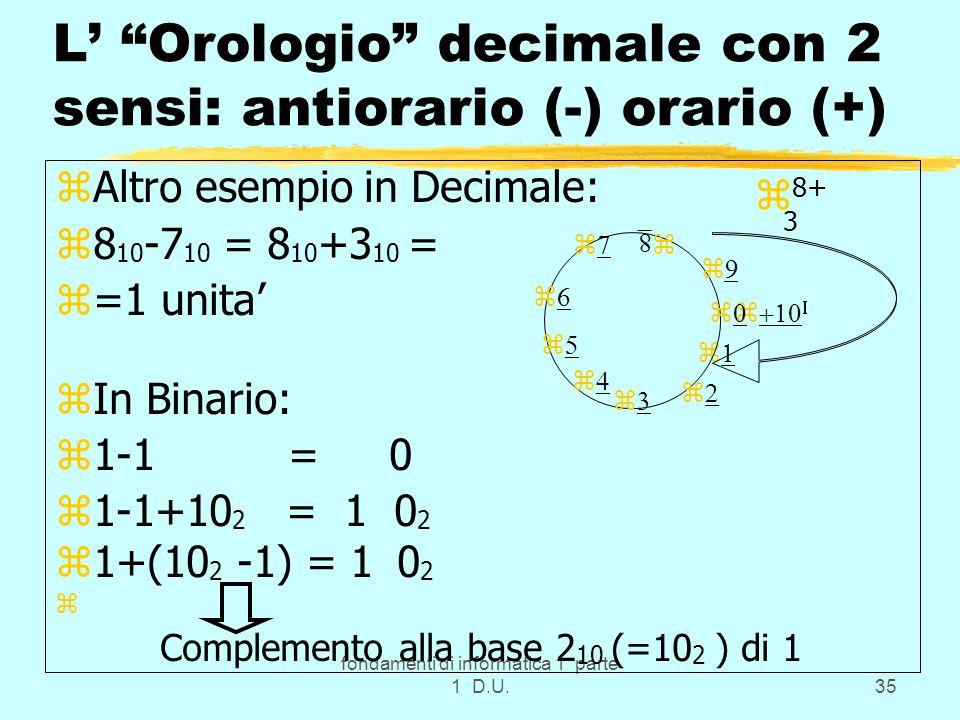 fondamenti di informatica 1 parte 1 D.U.35 L' Orologio decimale con 2 sensi: antiorario (-) orario (+) zAltro esempio in Decimale: z8 10 -7 10 = 8 10 +3 10 = z=1 unita' zIn Binario: z1-1 = 0 z1-1+10 2 = 1 0 2 z1+(10 2 -1) = 1 0 2 z Complemento alla base 2 10 (=10 2 ) di 1             z 8+ 3