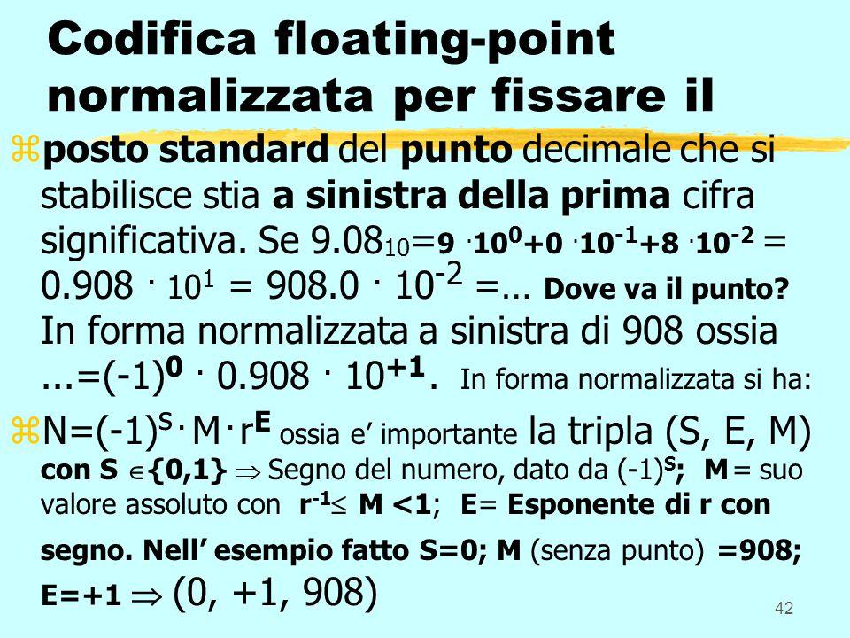 42 Codifica floating-point normalizzata per fissare il zposto standard del punto decimale che si stabilisce stia a sinistra della prima cifra signific