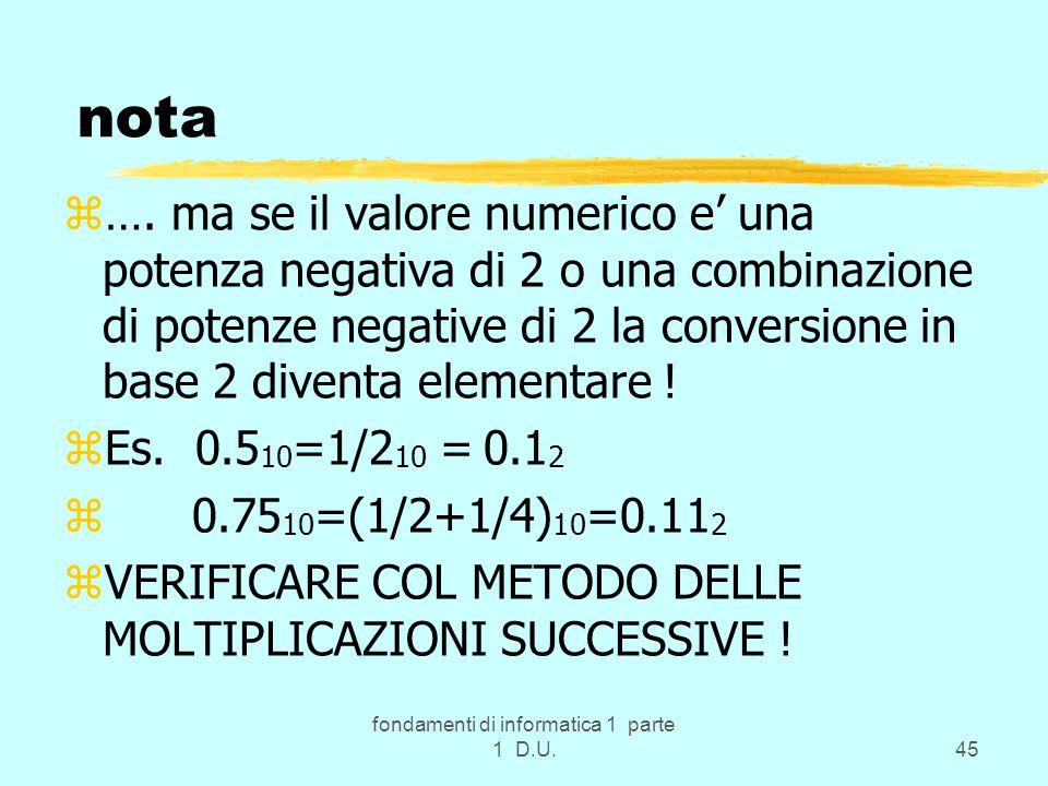 fondamenti di informatica 1 parte 1 D.U.45 nota z….