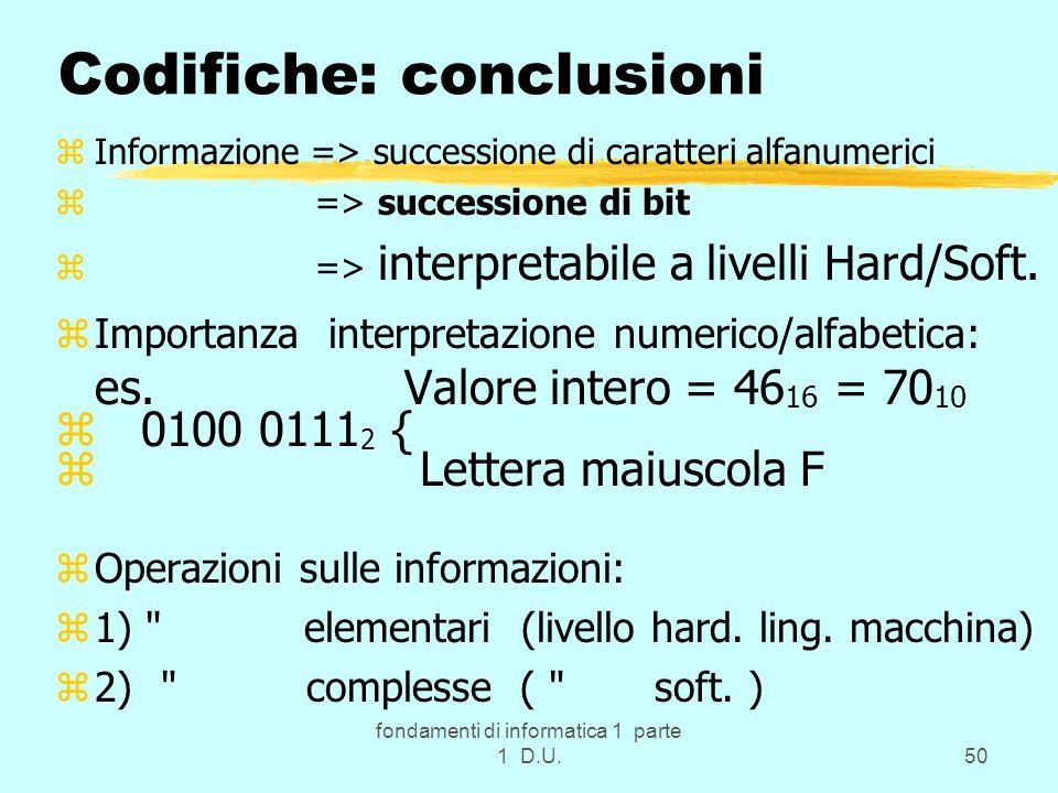 fondamenti di informatica 1 parte 1 D.U.50 Codifiche: conclusioni zInformazione => successione di caratteri alfanumerici z => successione di bit z => interpretabile a livelli Hard/Soft.