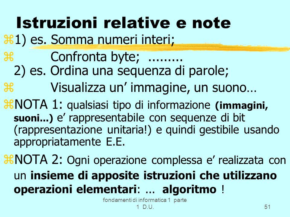 fondamenti di informatica 1 parte 1 D.U.51 Istruzioni relative e note z1) es.