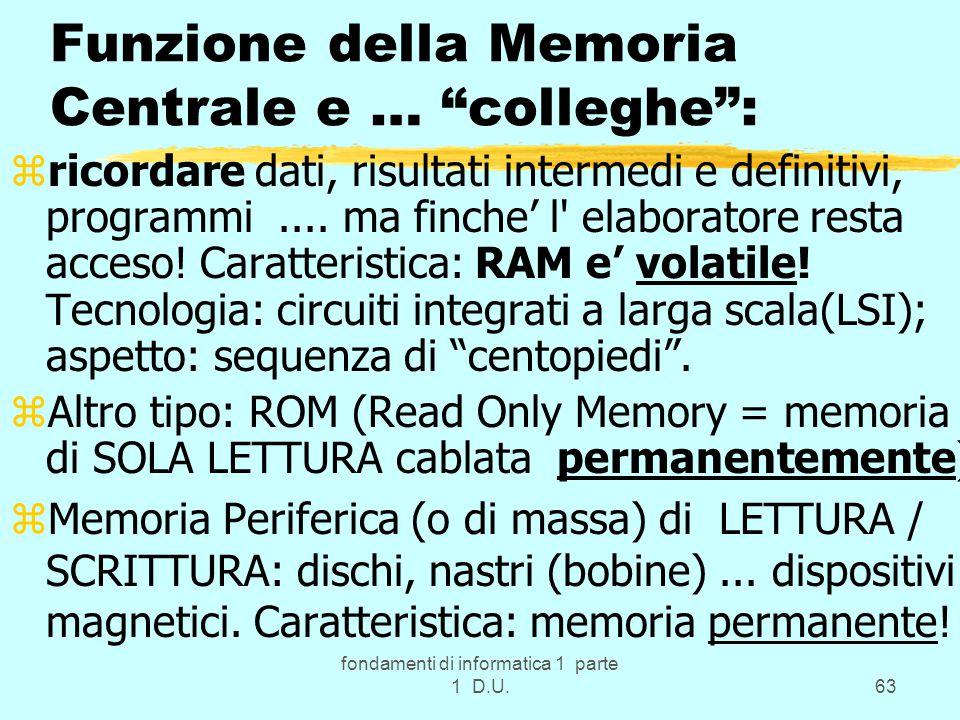 fondamenti di informatica 1 parte 1 D.U.63 Funzione della Memoria Centrale e … colleghe : zricordare dati, risultati intermedi e definitivi, programmi....