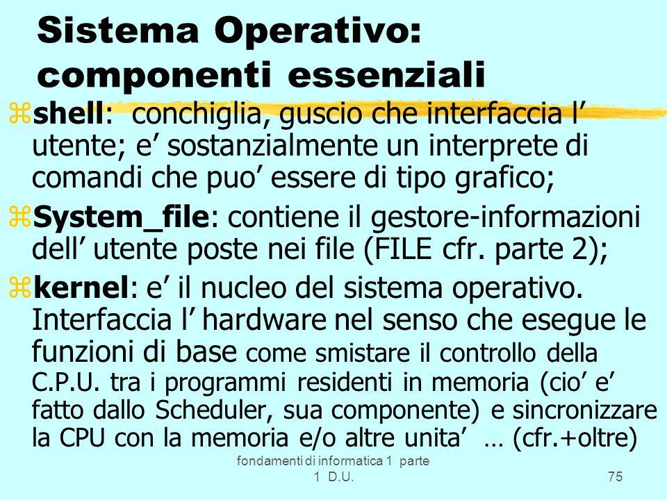 fondamenti di informatica 1 parte 1 D.U.75 Sistema Operativo: componenti essenziali zshell: conchiglia, guscio che interfaccia l' utente; e' sostanzialmente un interprete di comandi che puo' essere di tipo grafico; zSystem_file: contiene il gestore-informazioni dell' utente poste nei file (FILE cfr.