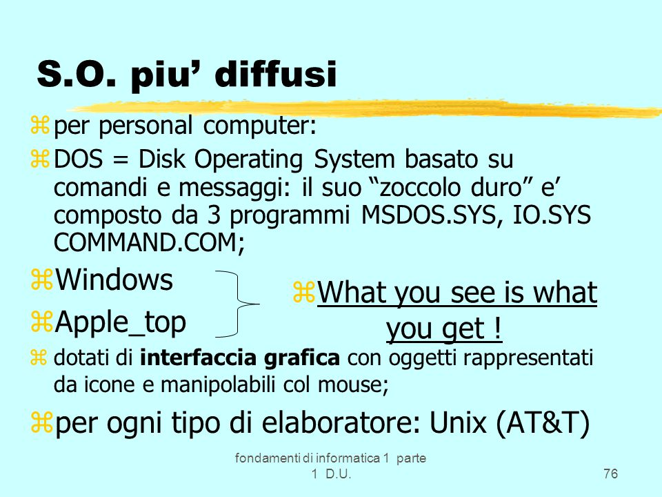 fondamenti di informatica 1 parte 1 D.U.76 S.O. piu' diffusi zper personal computer: zDOS = Disk Operating System basato su comandi e messaggi: il suo
