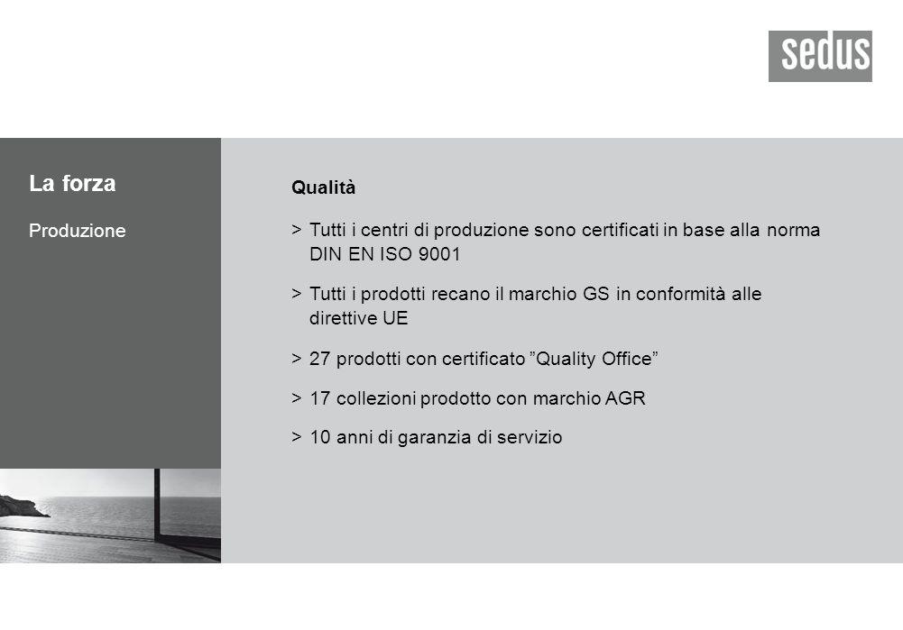 La forza Produzione Qualità >Tutti i centri di produzione sono certificati in base alla norma DIN EN ISO 9001 >Tutti i prodotti recano il marchio GS in conformità alle direttive UE >27 prodotti con certificato Quality Office >17 collezioni prodotto con marchio AGR >10 anni di garanzia di servizio