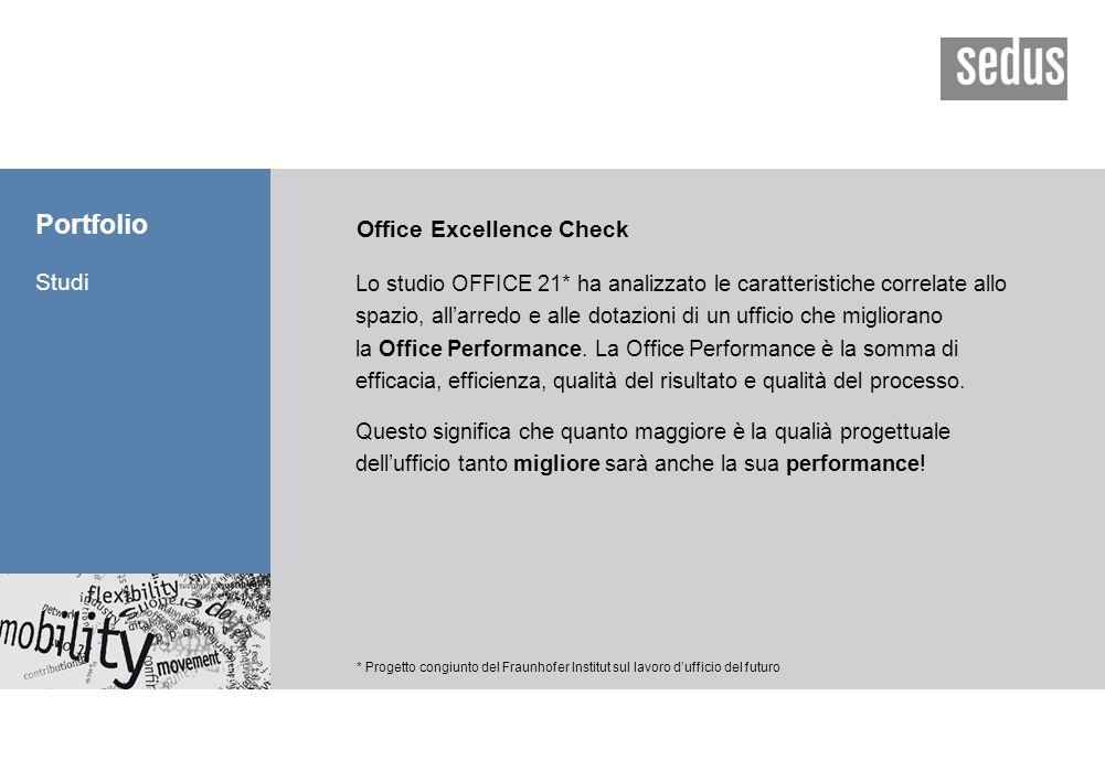 Portfolio Studi * Progetto congiunto del Fraunhofer Institut sul lavoro d'ufficio del futuro Office Excellence Check Lo studio OFFICE 21* ha analizzato le caratteristiche correlate allo spazio, all'arredo e alle dotazioni di un ufficio che migliorano la Office Performance.