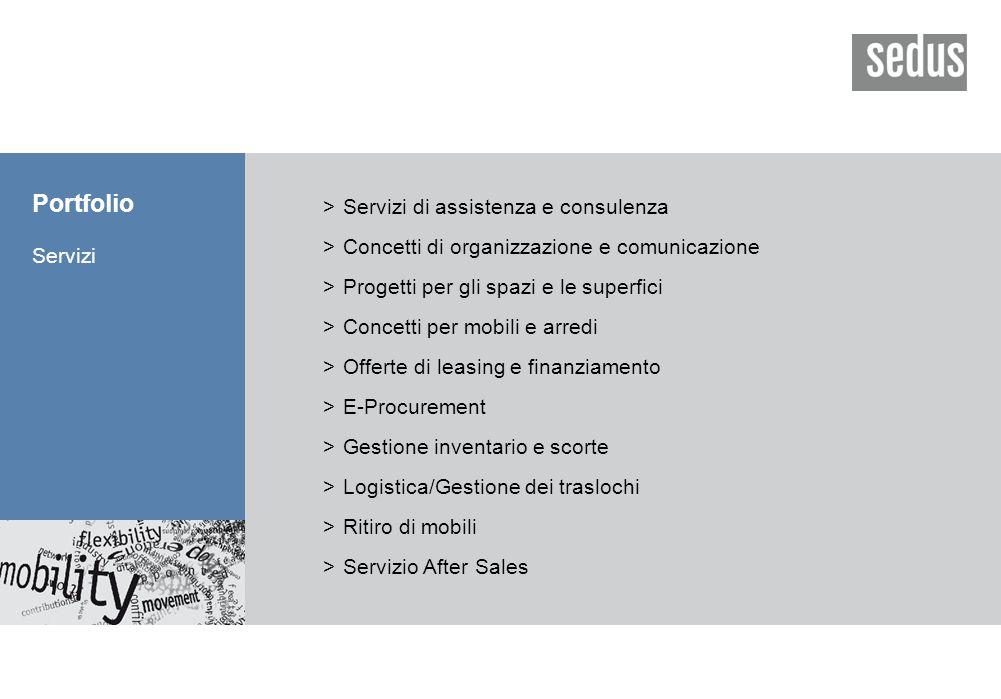 Portfolio Servizi >Servizi di assistenza e consulenza >Concetti di organizzazione e comunicazione >Progetti per gli spazi e le superfici >Concetti per mobili e arredi >Offerte di leasing e finanziamento >E-Procurement >Gestione inventario e scorte >Logistica/Gestione dei traslochi >Ritiro di mobili >Servizio After Sales
