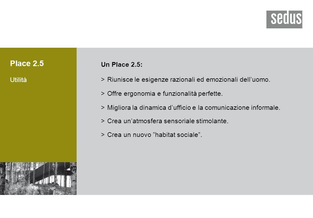 Place 2.5 Utilità Un Place 2.5: >Riunisce le esigenze razionali ed emozionali dell'uomo.
