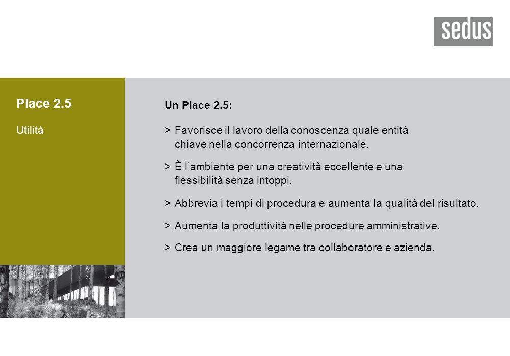 Place 2.5 Utilità Un Place 2.5: >Favorisce il lavoro della conoscenza quale entità chiave nella concorrenza internazionale.