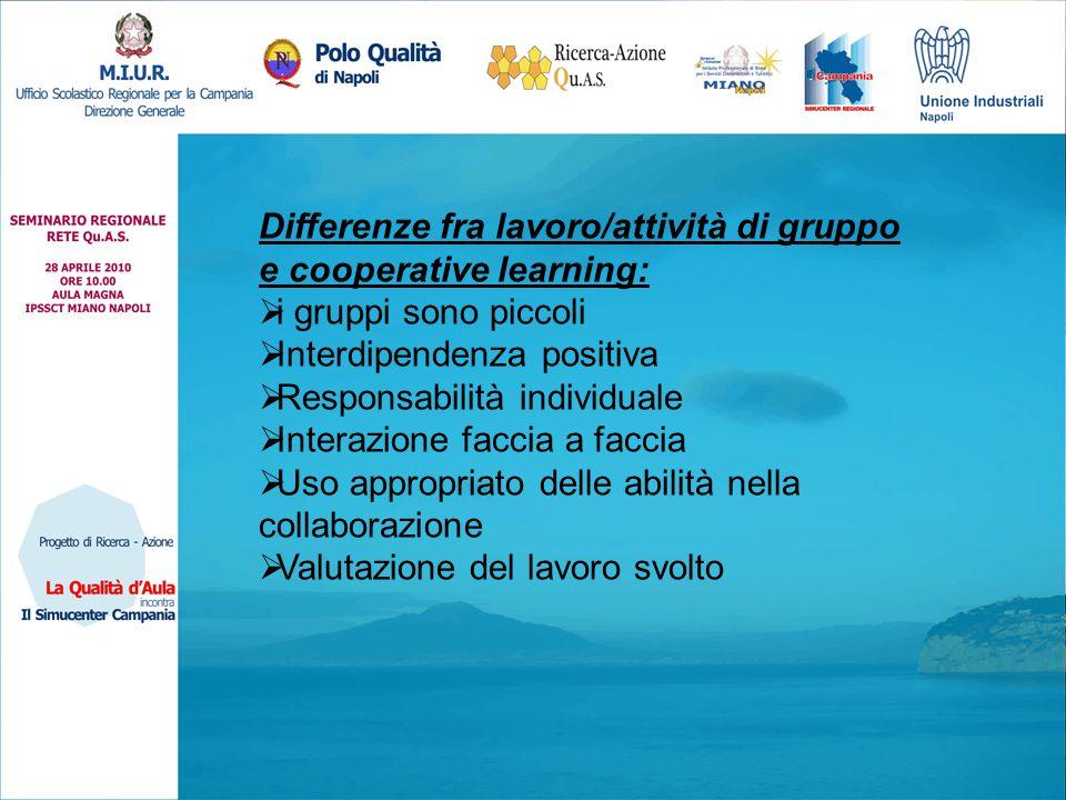 Differenze fra lavoro/attività di gruppo e cooperative learning:  i gruppi sono piccoli  Interdipendenza positiva  Responsabilità individuale  Interazione faccia a faccia  Uso appropriato delle abilità nella collaborazione  Valutazione del lavoro svolto