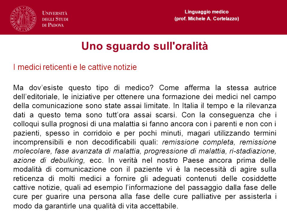Linguaggio medico (prof.Michele A.